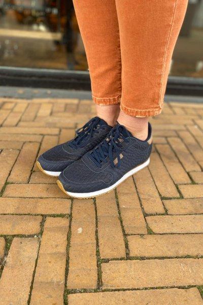 Woden sneakers blauw croco  Navy WL048