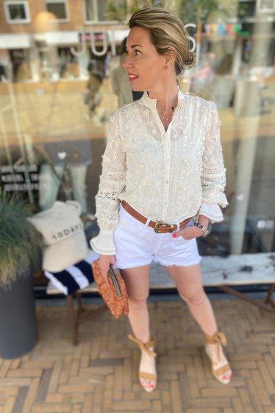 Fabienne Chapot blouse Cream White CLT-13-BLS-SS21