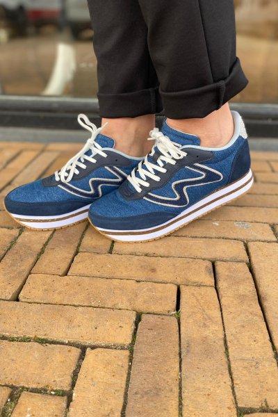 Woden sneaker jeans blauw