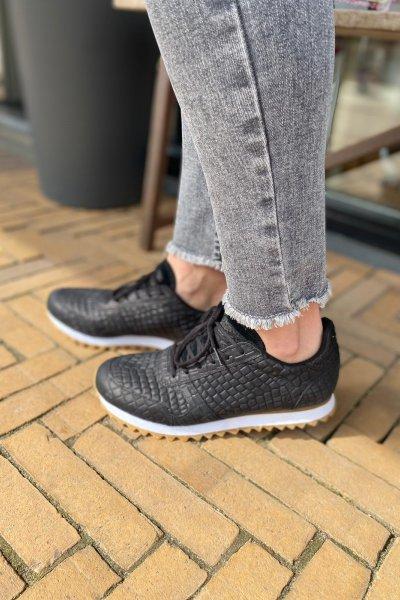 Woden sneakers croco Black WL049