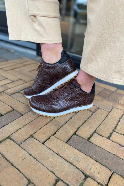 Woden sneakers croco donker bruin Ydun WL027