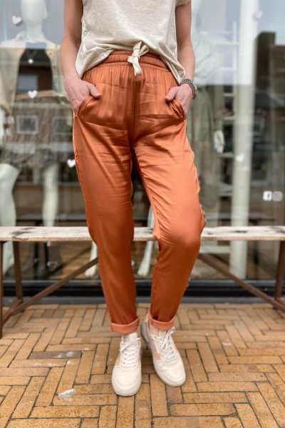 10 days easy pants shiny copper brown. 20-014-1201